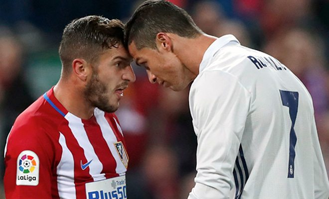 Cristiano Ronaldo and Koke argue
