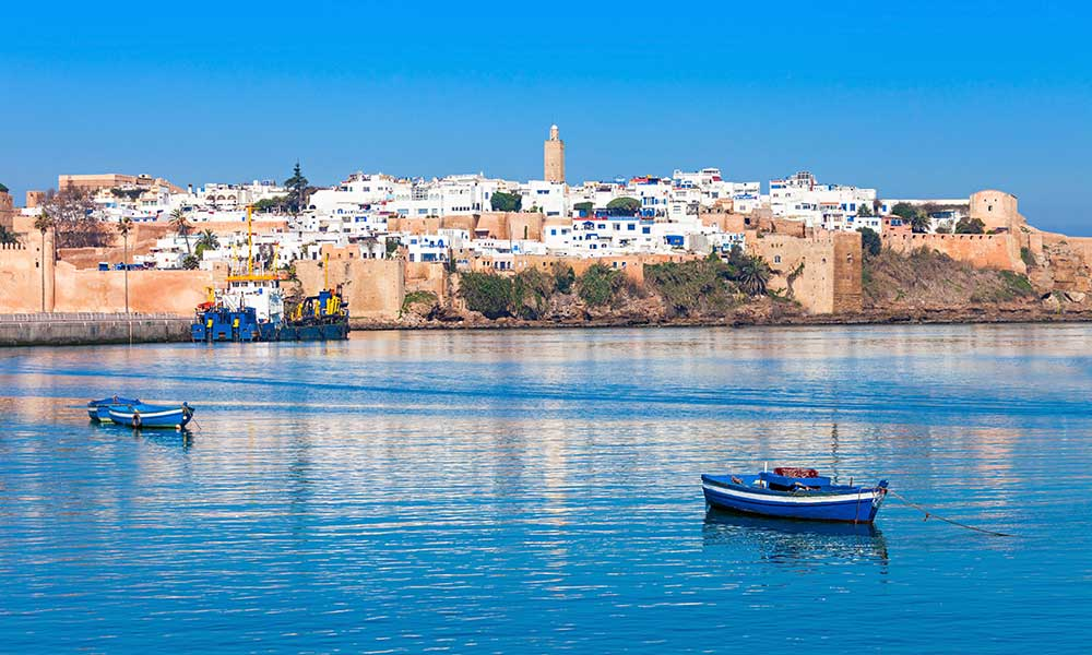 River Bou Regreg seafront and Kasbah in medina of Rabat, Morocco.