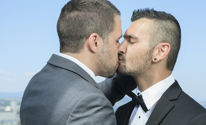 A gay couple getting married