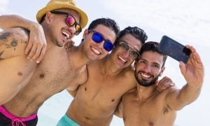Two gay men on a gay cruise