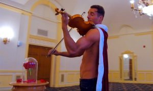 Shirtless Violinist performs 'Beauty and the Beast'