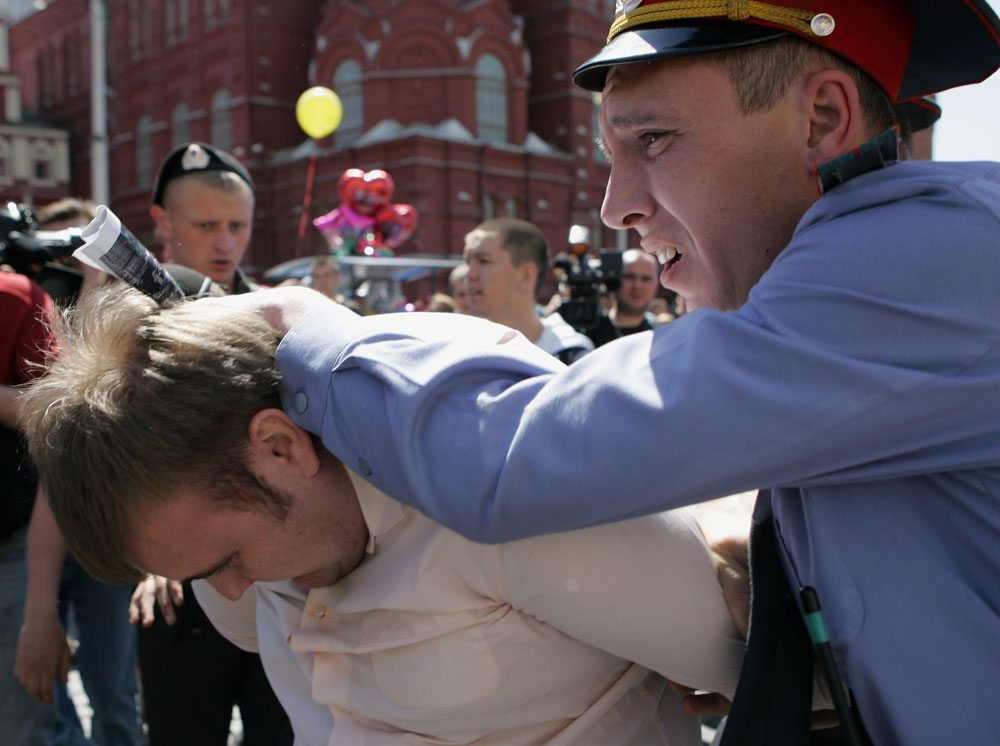 Russian police detain a gay rights activist
