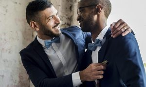 A gay couple on their wedding day.