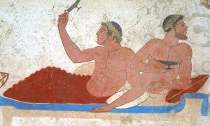 Detail ancient Greek Fresco in Paestum, Italy