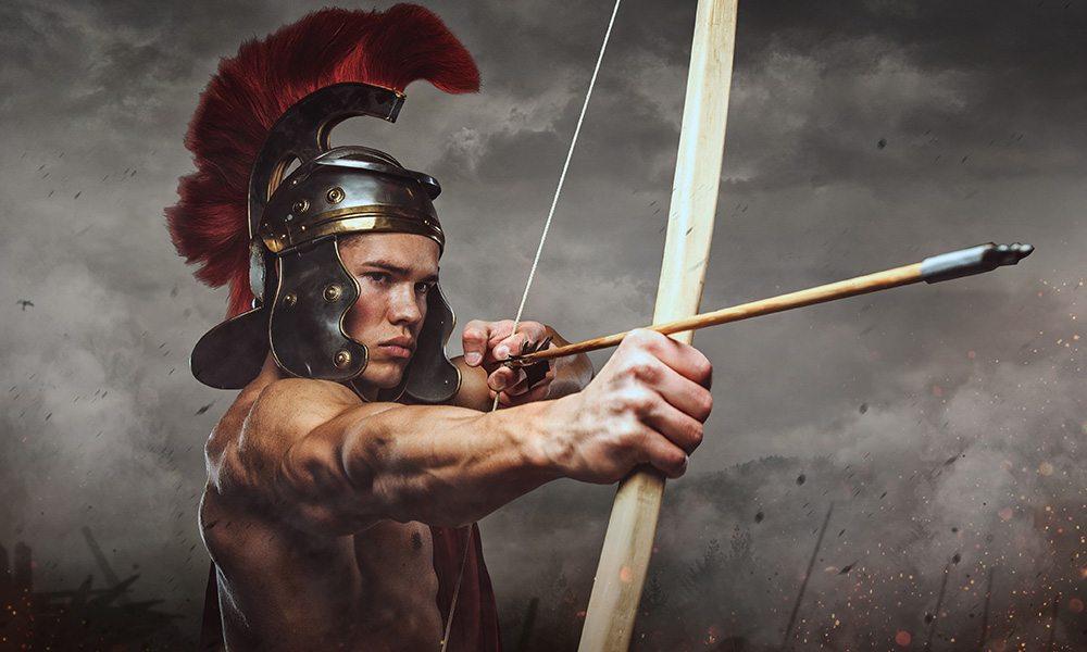 Muscular spartan soldier