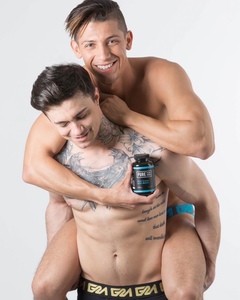 Two models promoting Pure for Men