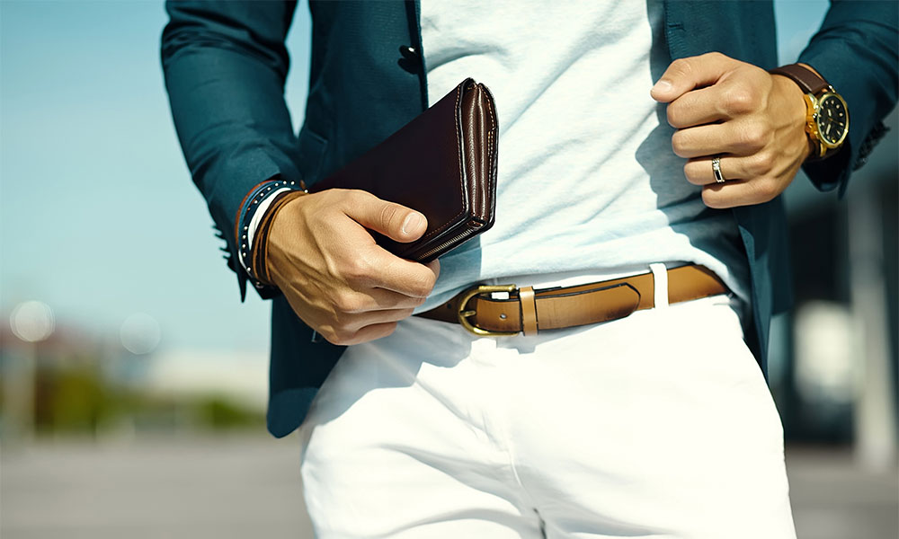 Fashionable man wearing a watch.