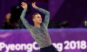 Adam Rippon of the United States competes
