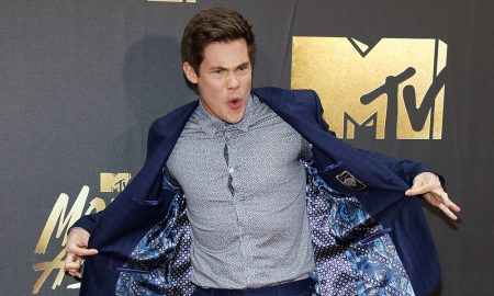 Adam DeVine at the 2016 MTV Movie Awards held at the Warner Bros. Studios in Burbank, USA on April 9, 2016.