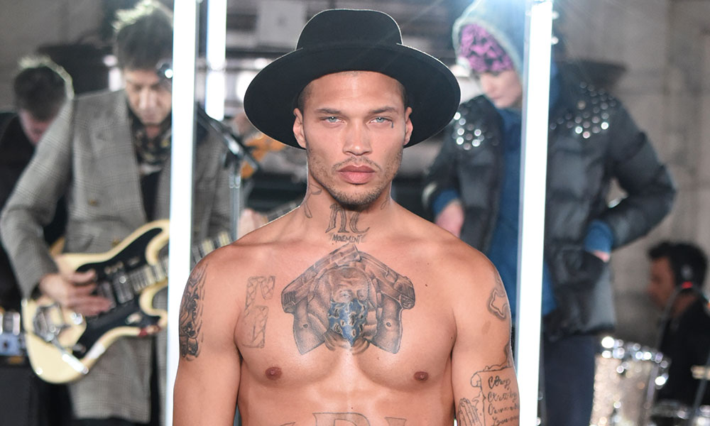 Model Jeremy Meeks rehearses for the runway for the Philipp Plein collection during New York Fashion Week