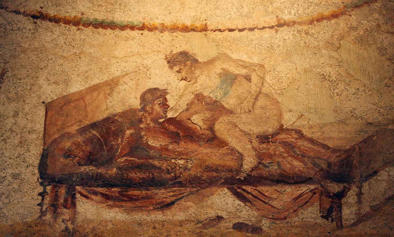 Picture taken 26 October 2006 of an erotic fresco in Pompeii