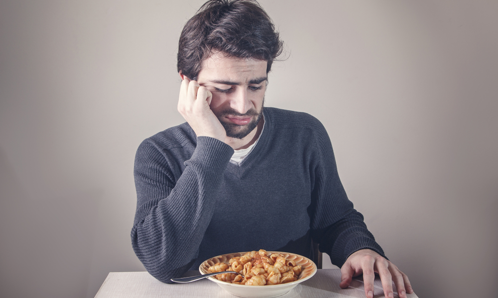 Depressed man not eating