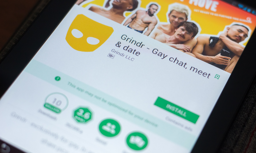 Grindr on a mobile phone