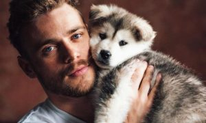 Gus Kenworthy with his adopted dog Beemo Adopted Puppy Beemo