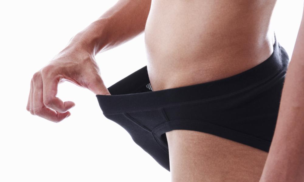 Man looking into underwear