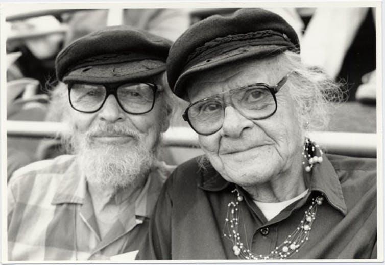John Burnside and Harry Hay with matching caps, June 25, 1994.