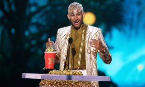 Actor Keiynan Lonsdale accepts the Best Kiss award for 'Love, Simon'