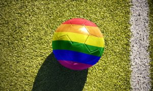 This is a photo of a rainbow soccer ball.
