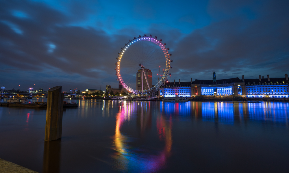 The London Eye in Rainbow Lights for Pride Month