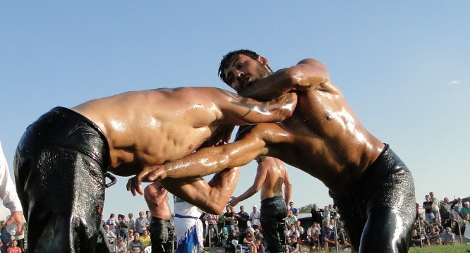 Oil wrestling is the hottest sport in Turkey.