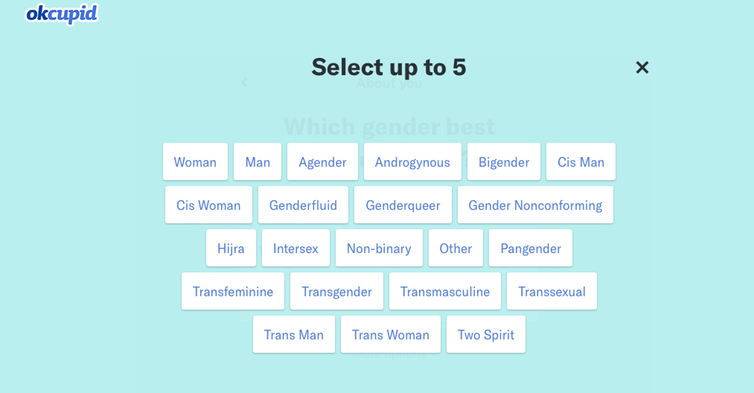 Gender selection Ok Cupid