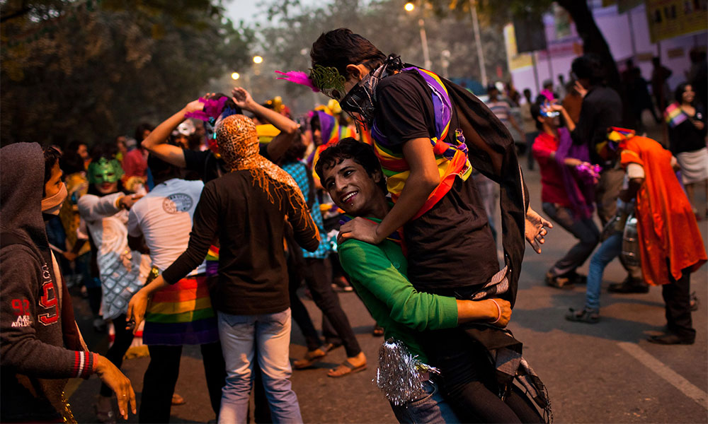 People participate during the 4th Delhi Queer Pride Parade