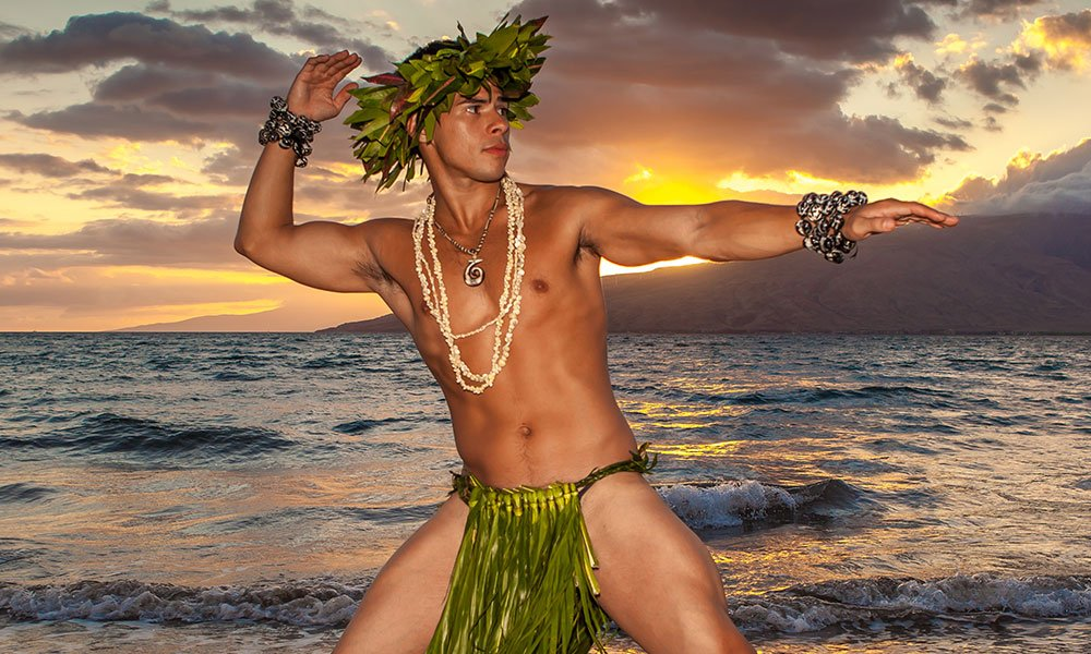 Gay Hawaiian hula dancer