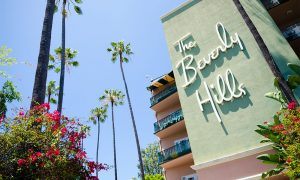 Sign at the entrance to the world-famous Beverly Hills Hotel located along Sunset Boulevard in Beverly Hills.