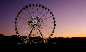 The ferris wheel is seen during the 2018 Coachella