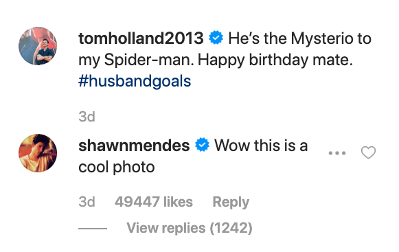 Shawn Mendes comments on Tom Hollands photos