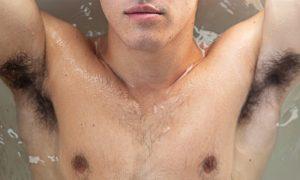 A photo of a man's armpits