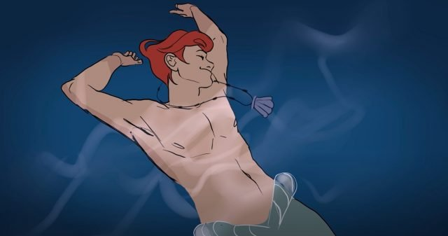 Male Ariel from The Little Mermaid Lying Back