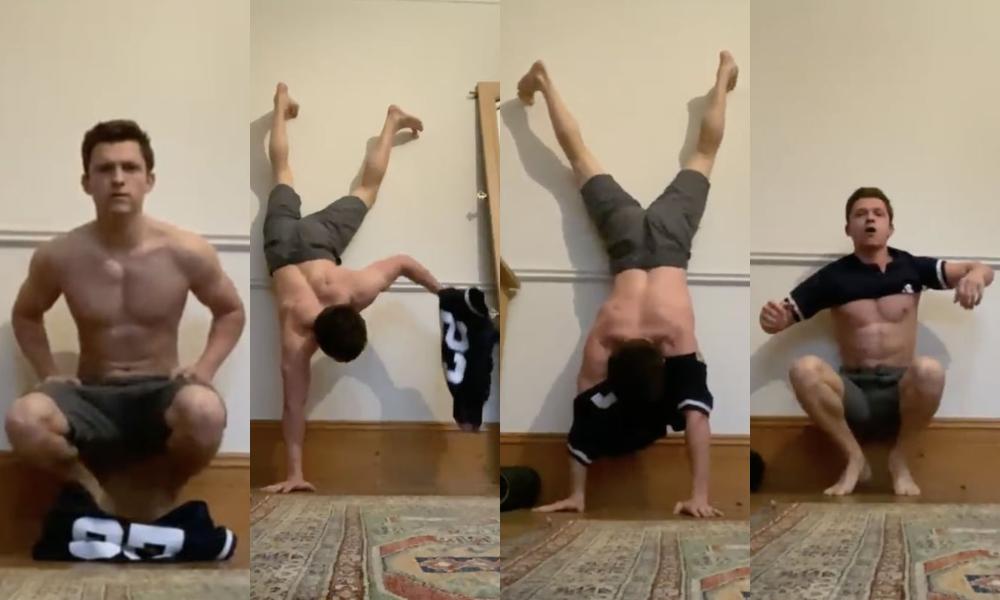Tom Holland Started a Shirtless Handstand Challenge